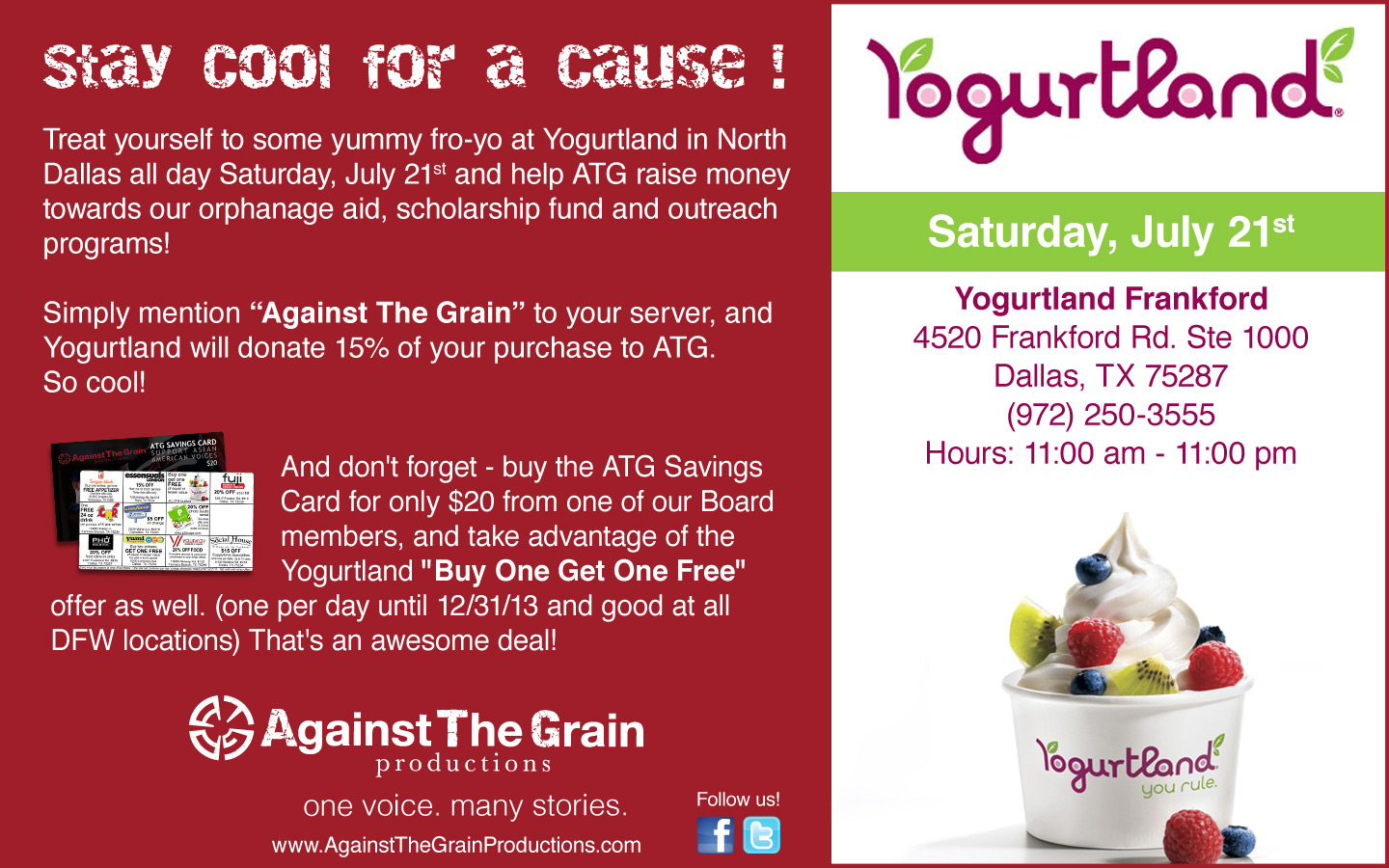 Stay Cool For A Cause Yogurtland On Frankford Against