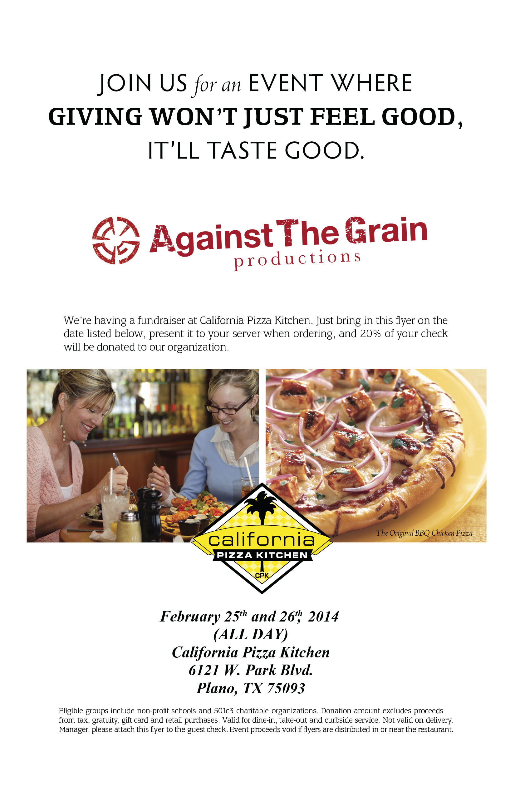 Dine for a Cause: California Pizza Kitchen – February 25th-February ...